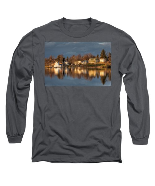 Reflection Of A Village - Phoenix Ny Long Sleeve T-Shirt by Everet Regal