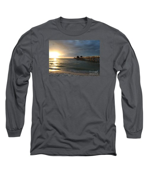 Pier Sunset Naples Long Sleeve T-Shirt by Christiane Schulze Art And Photography