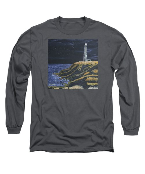 Long Sleeve T-Shirt featuring the painting Pigeon Lighthouse Night Scumbling Complementary Colors by Ian Donley