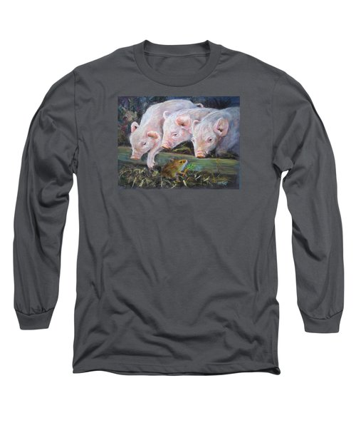 Long Sleeve T-Shirt featuring the painting Pigs Vs Mouse by Jieming Wang