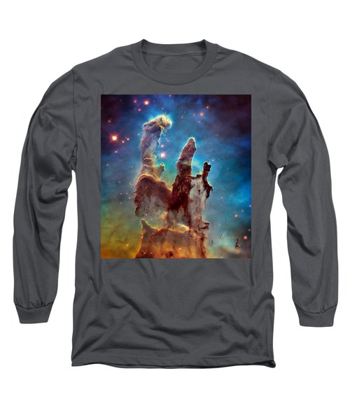 Pillars Of Creation In High Definition - Eagle Nebula Long Sleeve T-Shirt by Jennifer Rondinelli Reilly - Fine Art Photography