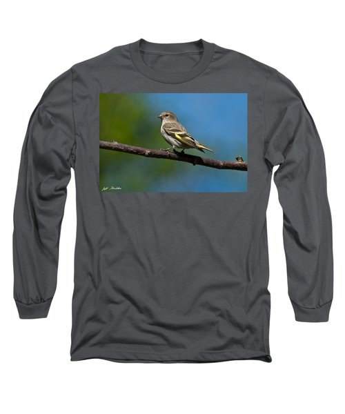Pine Siskin Perched On A Branch Long Sleeve T-Shirt