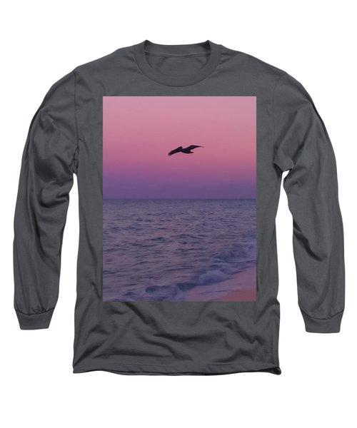 Pink Beach Sunset Long Sleeve T-Shirt