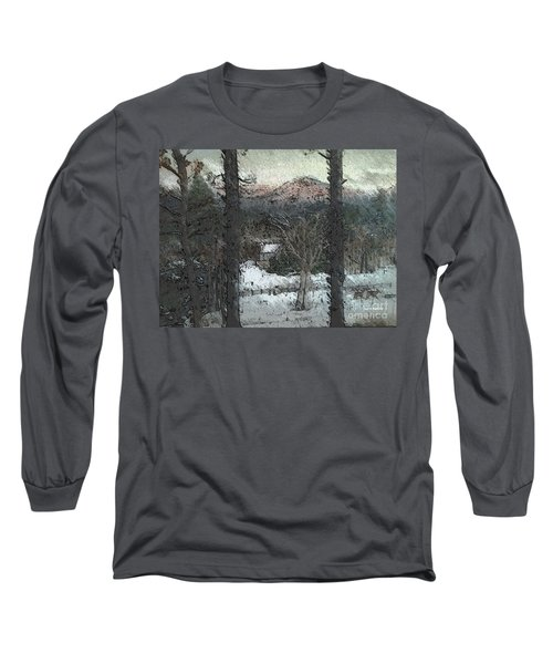 Long Sleeve T-Shirt featuring the painting Snow - Pink Mountain - Blueridge Mountains by Jan Dappen