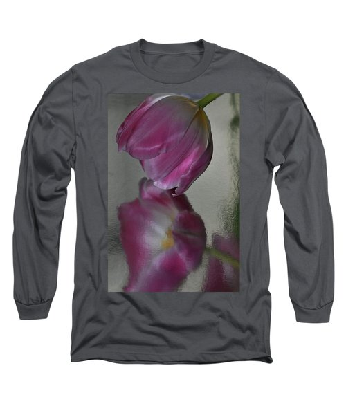 Pink Tulip Reflected In Silver Water Long Sleeve T-Shirt