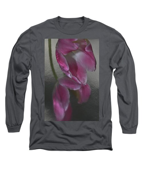 Pink Tulip Reflection In Silver Water Long Sleeve T-Shirt