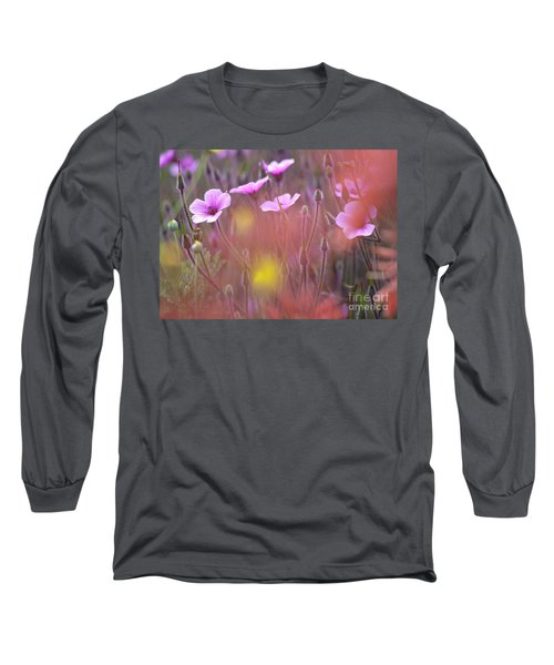 Pink Wild Geranium Long Sleeve T-Shirt