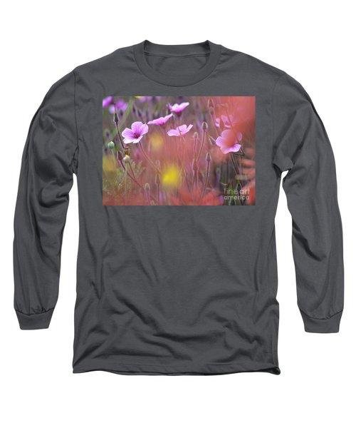 Pink Wild Geranium Long Sleeve T-Shirt by Heiko Koehrer-Wagner