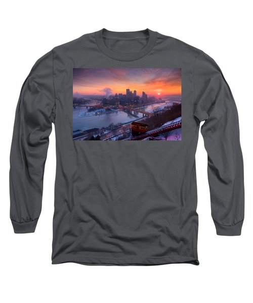 Pittsburgh Skyline Winter 2 Long Sleeve T-Shirt by Emmanuel Panagiotakis