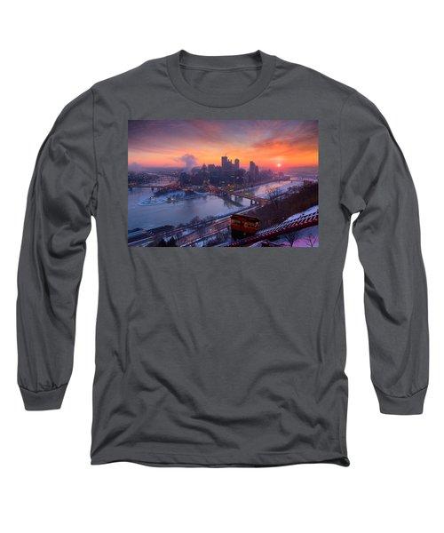 Pittsburgh Skyline Winter 2 Long Sleeve T-Shirt