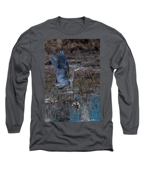 Poised For Flight Long Sleeve T-Shirt by Charlie Duncan