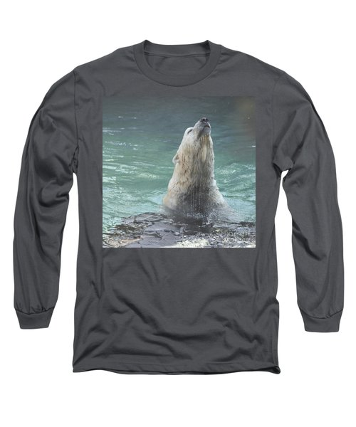 Polar Bear Jumping Out Of The Water Long Sleeve T-Shirt by John Telfer