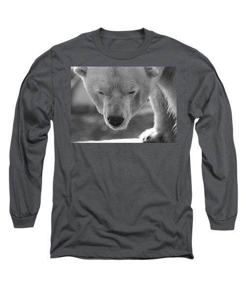 Polar Bear Portrait Black And White Long Sleeve T-Shirt