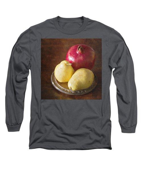 Pomegranate And Yellow Pear Still Life Long Sleeve T-Shirt