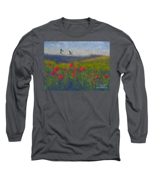 Long Sleeve T-Shirt featuring the digital art Poppies Of Tuscany by Lianne Schneider