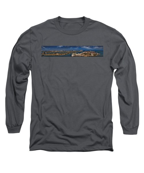 Port Of Miami Panoramic Long Sleeve T-Shirt by Susan Candelario
