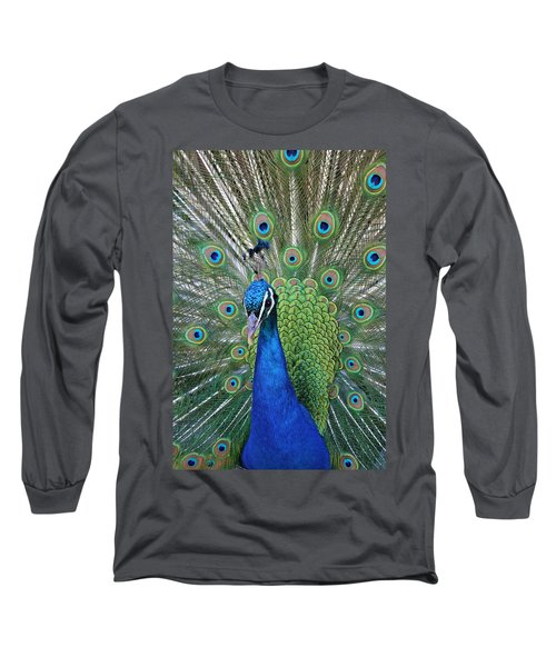 Long Sleeve T-Shirt featuring the photograph Portrait Of A Peacock by Diane Alexander