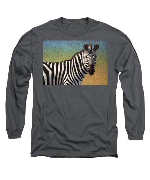 Long Sleeve T-Shirt featuring the painting Portrait Of A Zebra by James W Johnson