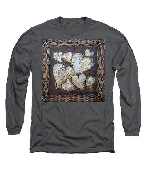 Long Sleeve T-Shirt featuring the painting Precious Hearts 301110 by Selena Boron