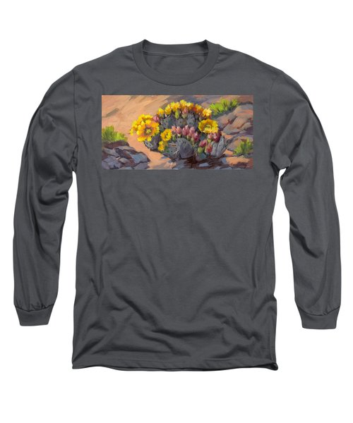 Prickly Pear Cactus In Bloom Long Sleeve T-Shirt by Diane McClary