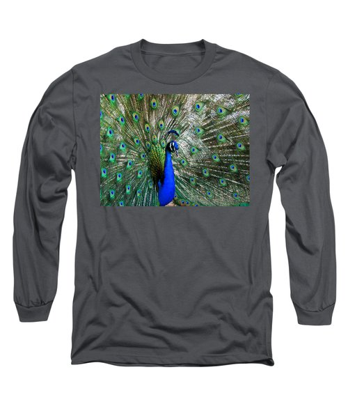 Proud Peacock Long Sleeve T-Shirt by Laurel Powell