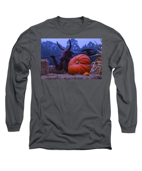 Pumpkin And Minotaur Long Sleeve T-Shirt by Garry Gay