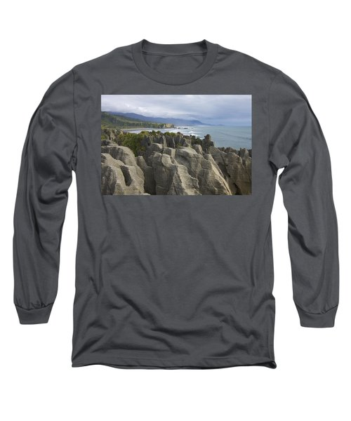 Long Sleeve T-Shirt featuring the photograph Punakaiki Pancake Rocks by Stuart Litoff