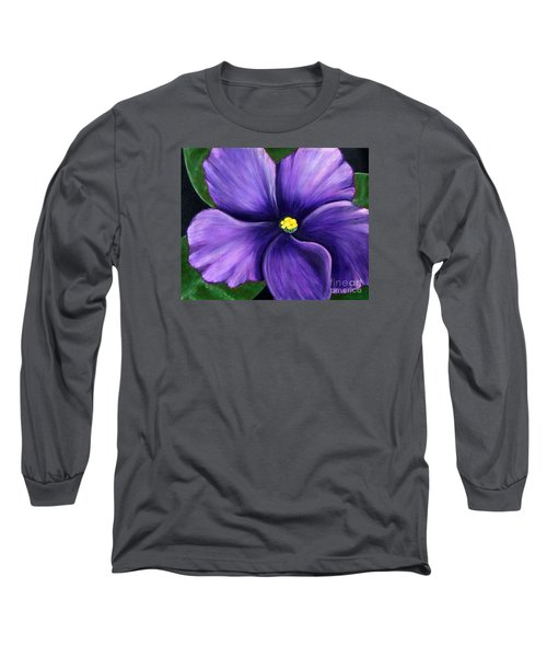 Purple African Violet Long Sleeve T-Shirt by Barbara Griffin
