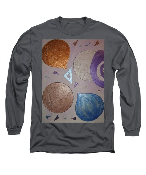 Purple And Metallic Shapes Long Sleeve T-Shirt by Barbara Yearty