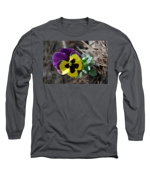 Long Sleeve T-Shirt featuring the photograph Purple And Yellow Pansy by Tara Potts
