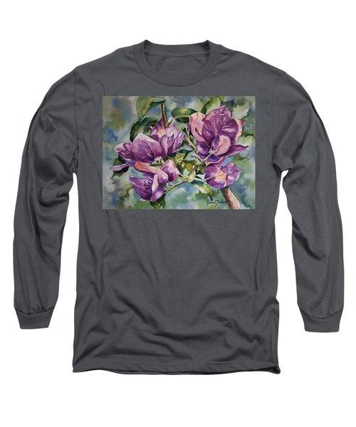 Purple Beauties - Bougainvillea Long Sleeve T-Shirt by Roxanne Tobaison