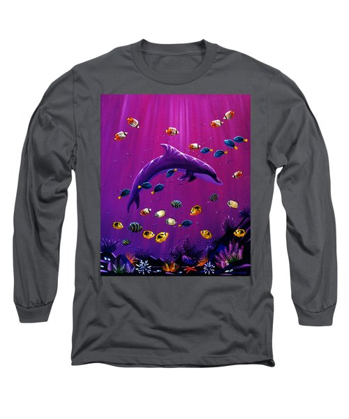 Long Sleeve T-Shirt featuring the painting Purple Dolpins by Lance Headlee
