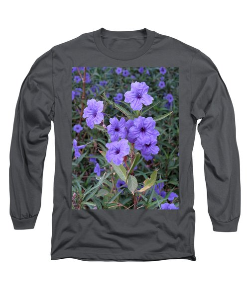 Purple Flowers Long Sleeve T-Shirt by Laurel Powell
