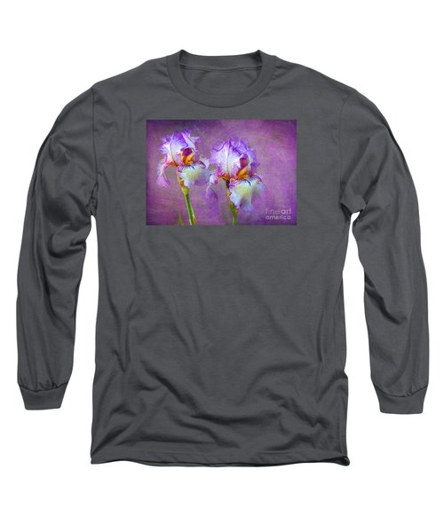 Purple Iris Long Sleeve T-Shirt by Lena Auxier