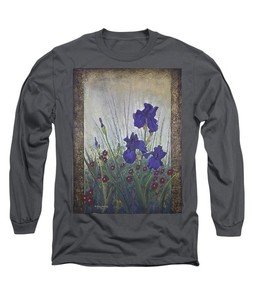 Long Sleeve T-Shirt featuring the painting Purple Iris by Rob Corsetti