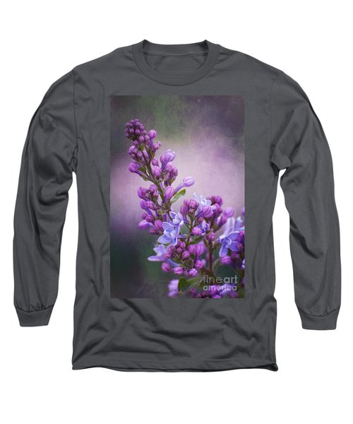 Purple Lilacs Long Sleeve T-Shirt by Bianca Nadeau