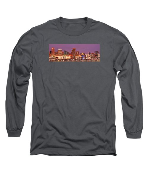 Purple Night In Baltimore Long Sleeve T-Shirt by Wayne King