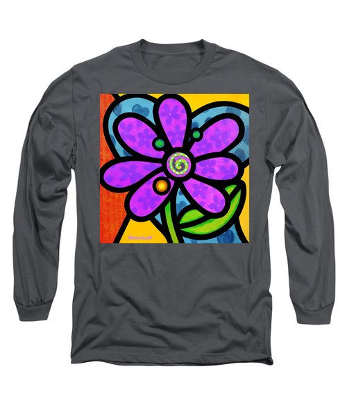 Purple Pinwheel Daisy Long Sleeve T-Shirt