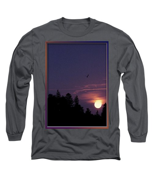 Long Sleeve T-Shirt featuring the photograph Purple Sunset With Sea Gull by Peter v Quenter