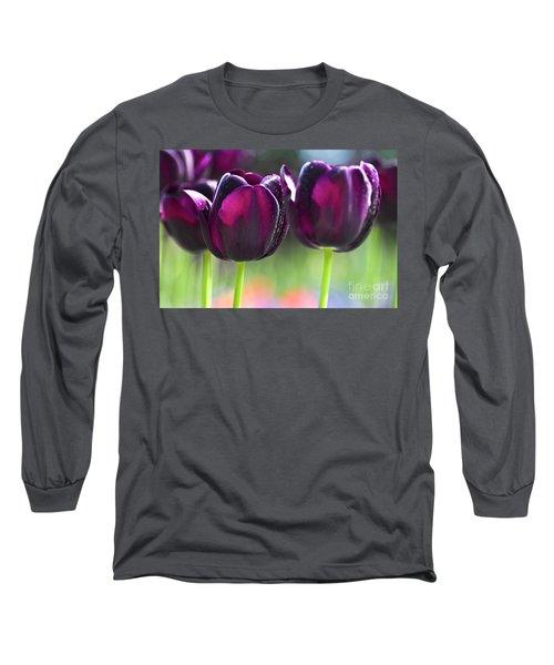 Purple Tulips Long Sleeve T-Shirt by Heiko Koehrer-Wagner