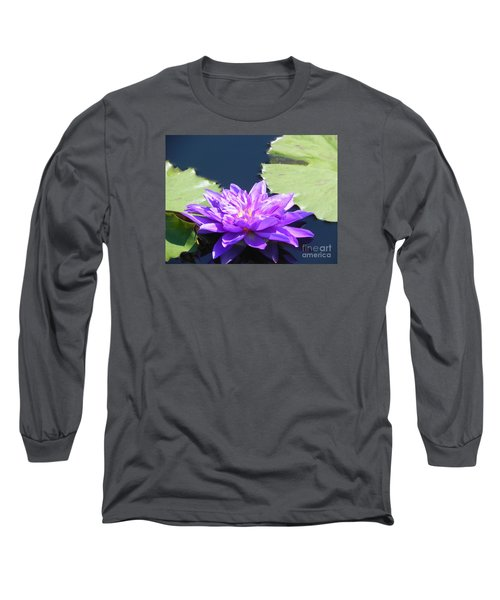 Long Sleeve T-Shirt featuring the photograph Purple Waterlilie Flower by Chrisann Ellis