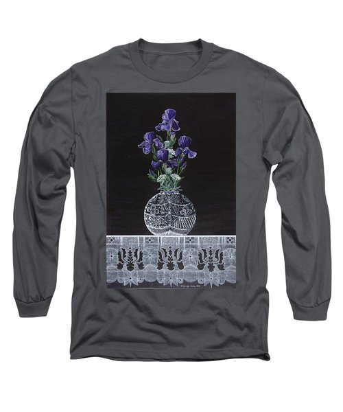 Long Sleeve T-Shirt featuring the painting Queen Iris's Lace by Jennifer Lake
