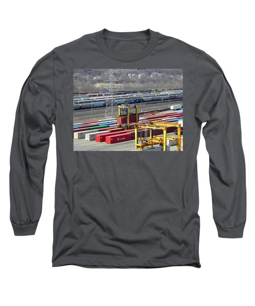 Long Sleeve T-Shirt featuring the photograph Queensgate Yard Cincinnati Ohio by Kathy Barney