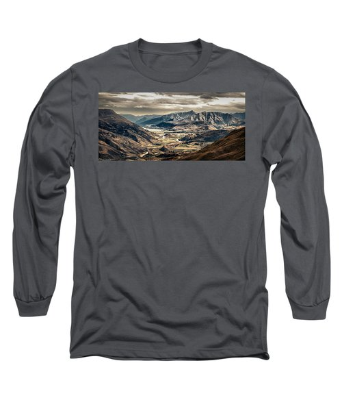Long Sleeve T-Shirt featuring the photograph Queenstown View by Chris Cousins