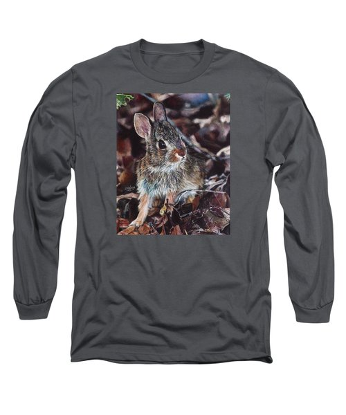 Long Sleeve T-Shirt featuring the painting Rabbit In The Woods by Joshua Martin