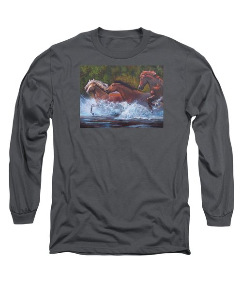 Race For Freedom Long Sleeve T-Shirt by Karen Kennedy Chatham