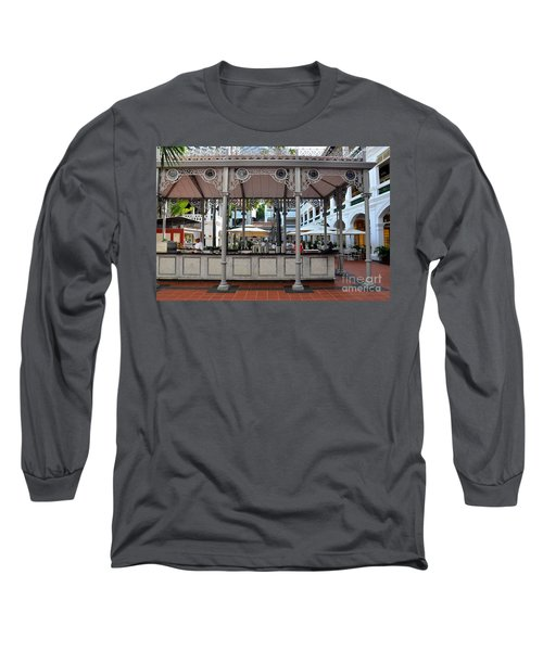 Raffles Hotel Courtyard Bar And Restaurant Singapore Long Sleeve T-Shirt by Imran Ahmed