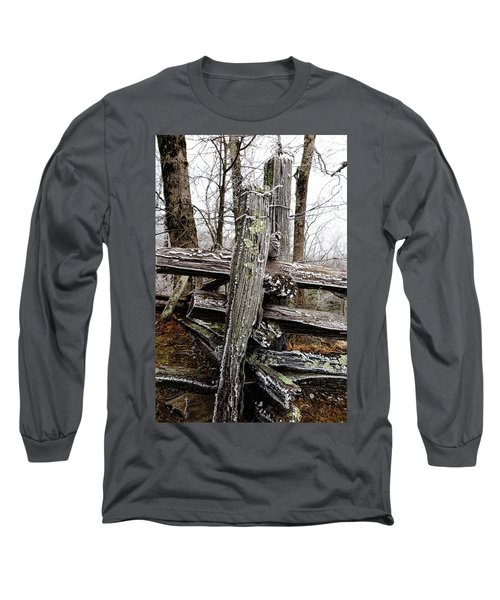 Rail Fence With Ice Long Sleeve T-Shirt by Daniel Reed