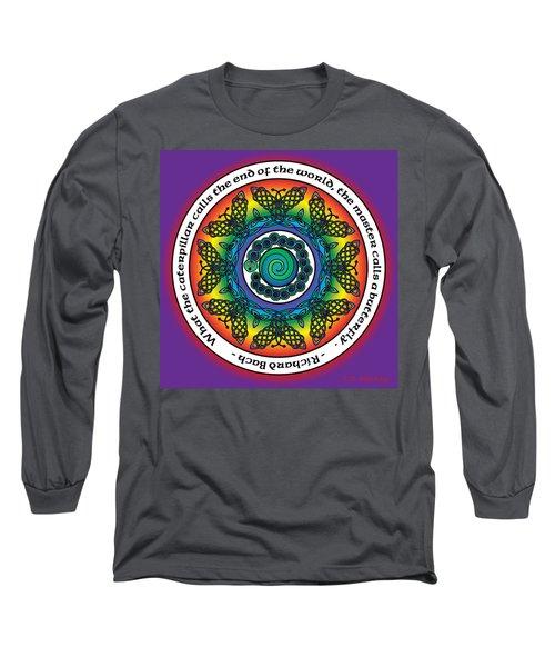 Rainbow Celtic Butterfly Mandala Long Sleeve T-Shirt