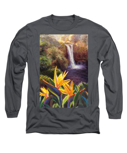Rainbow Falls Big Island Hawaii Waterfall  Long Sleeve T-Shirt